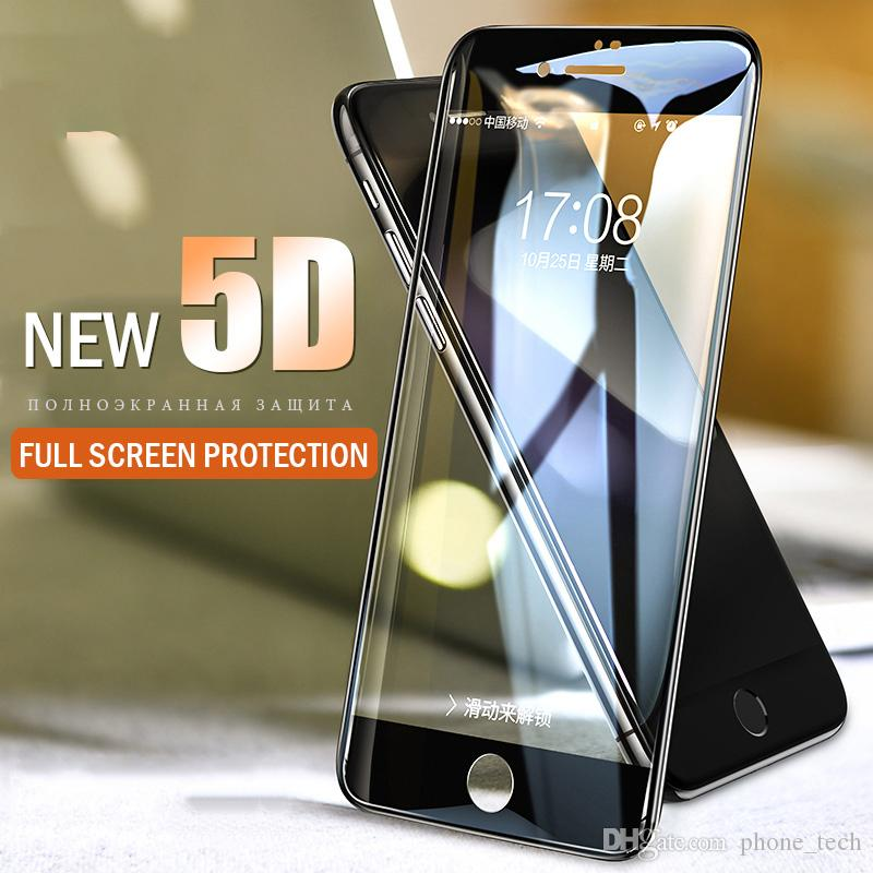 5D Full Cover Tempered Glass For iPhone X Xr Xs Max Screen Protector iphone 7 8/plus glass Film Curved Edge Protection Top