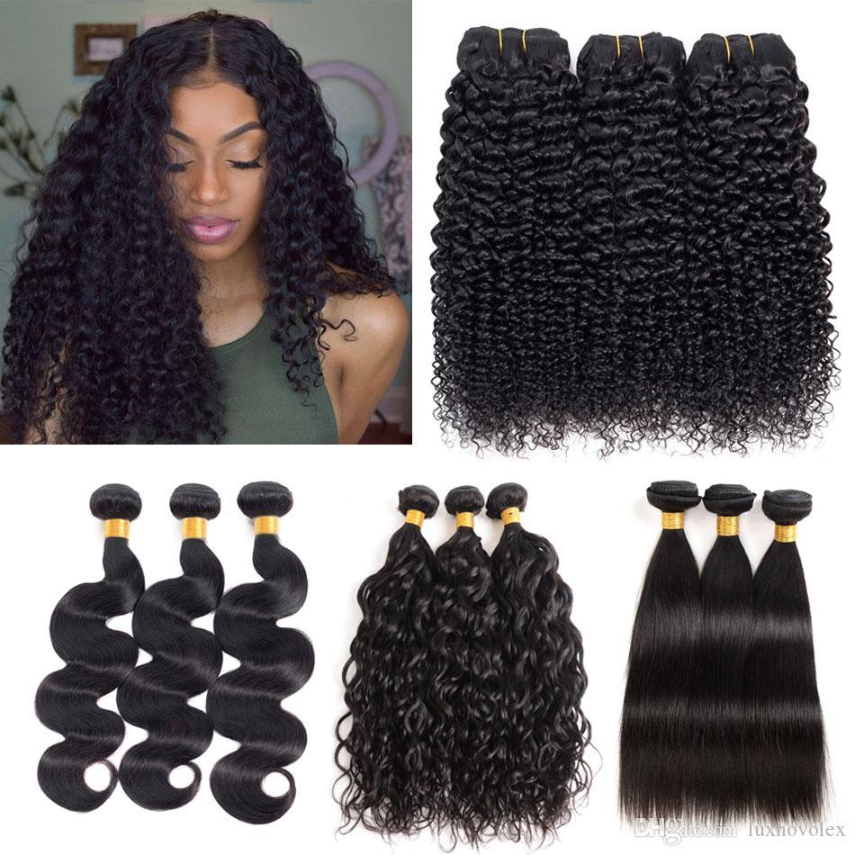 8A Brazilian Virgin Hair Bundles Body Wave Straight Water Wave Deep Wave Kinky Curly Human Hair Peruvian Malaysian Hair Weave Bundles Cheap