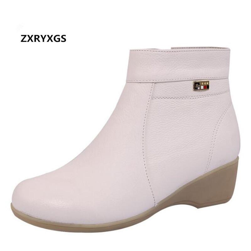 ZXRYXGS Brand Boots Warm Comfortable White Women Shoes Botas de nieve 2018 New Winter Wedges Soft Genuine Leathe Shoes Mujer