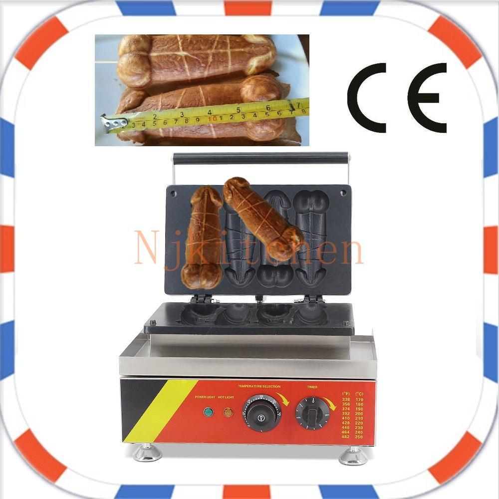 Livraison gratuite Utilisation commerciale 2018 nouveau-design électrique 110 v 220 v pénis gaufrier bâton maker machine boulanger fer