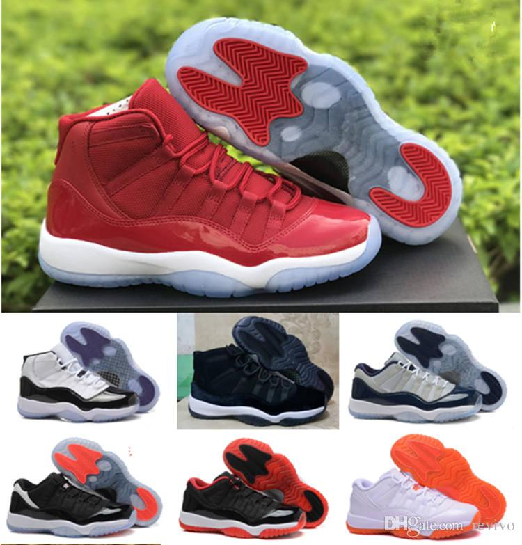 2019 High Quality j 11 11s Basketball Shoes boys girls 11s university blue Varsity Red Sneakers With Box big kids size 36-40
