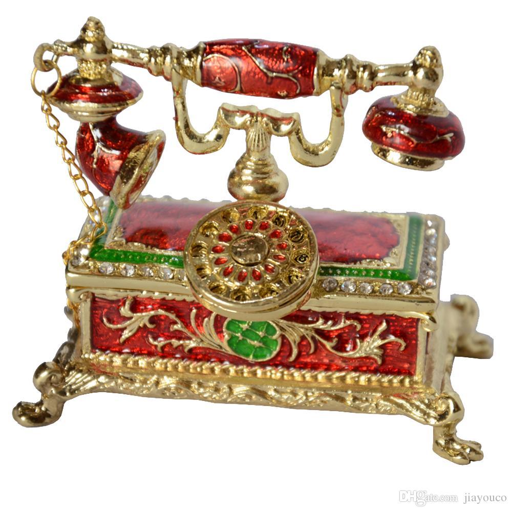 antico telefono design decorazione gingillo casella rhinestone gioielli ingioiellati scatola di gioielli incerate visualizzazione regali di Natale