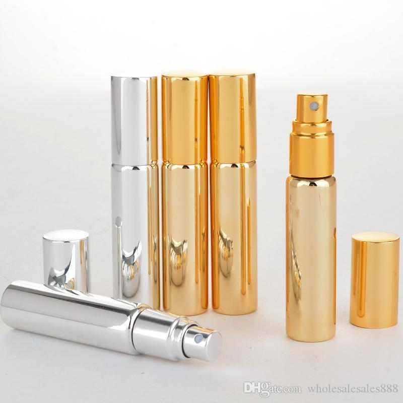 Commercio all'ingrosso 200 pezzi / lotto 10 ml portatile vetro UV bottiglia di profumo riutilizzabile con alluminio atomizzatore vuoto parfum case per viaggiatore