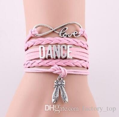 DHL Infinity Love Leather Bracelet Dance Dancer Multilayer Vintage Braided Charm Wrap Bracelets For Women Men Girls Jewelry Christmas Gift