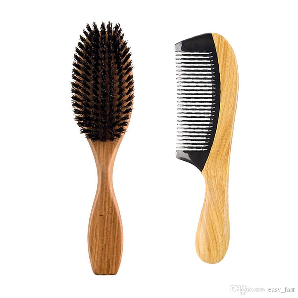 New Boar Bristle Paddle Hair Brush & Round Handle Horn Wood Comb Hair Set Makeup Fashion Styling Detangling Women Curly Hair Long Wig Clean