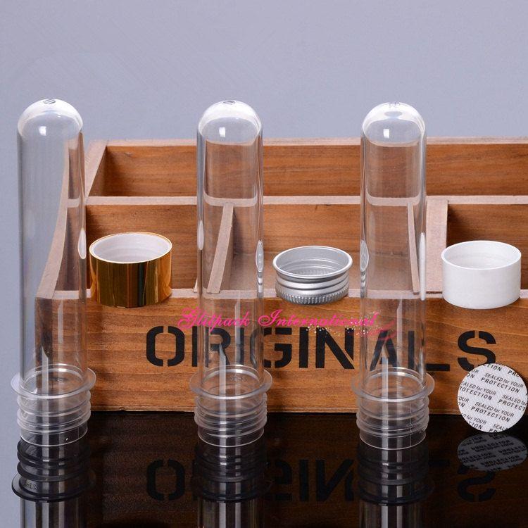 25 ml transparentes Badesalz-PET-Reagenzglas mit Aluminiumkappe, durchsichtiges Kunststoff-Kosmetikröhrchen mit druckempfindlichem Dichtungskissen PropionateTubes