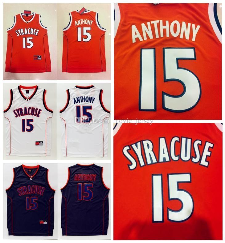 Mejor calidad Syracuse College NCAA Jersey # 15 Carmelo Anthony Jersey Negro Blanco para hombre Carmelo Anthony College College Basketball Jerseys cosido