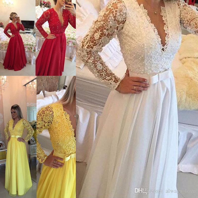 Long Sleeves Evening Dress White Blue Chiffon Lace Prom Dress Formal Event Gown Plus Size robe de soire vestido de festa longo