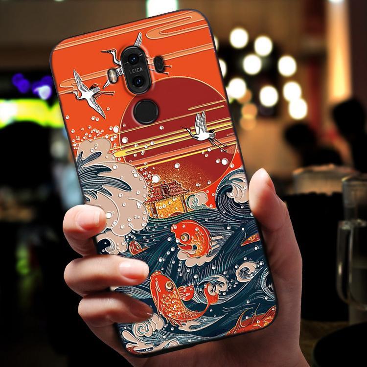 Китайские поговорки Yu Yue Longmen Carps Прыжки Dragon Gate искусство телефон case для Huawei mate 9 mate9 высокого класса тиснение case cover