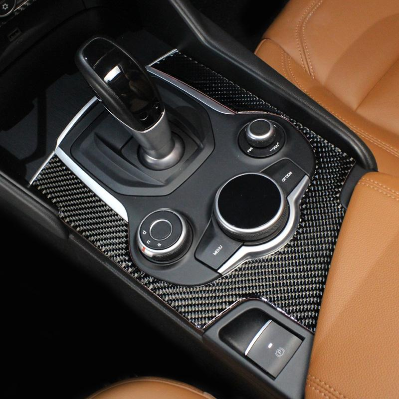 2017-18 Per Alfa Romeo Giulia Stelvio coperchio del pannello ingranaggio centrale Accessori auto Maiusc decorazioni in fibra di carbonio stile Trim Sticker