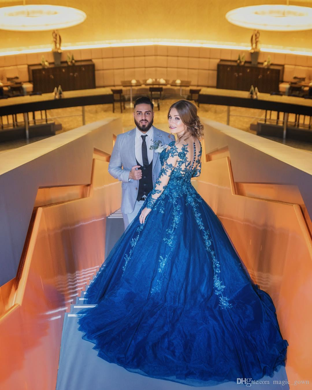 Dubai Arabisch Blau Spitze Ballkleid Prinzessin Abendkleider Applique Mit Langen Ärmeln Sweep Zug Abendkleider Abendgarderobe de soiree