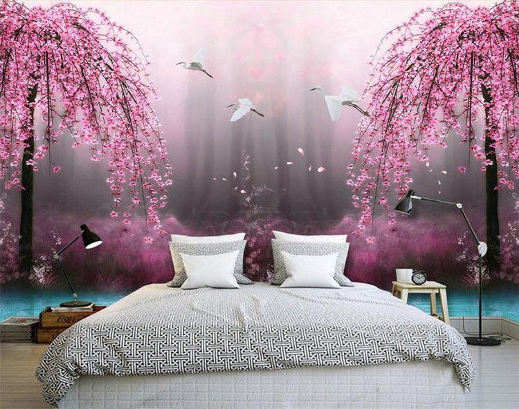 Großhandel Natürliche Rote Pfirsich Blumen Wandbild Für Sofa Hintergrund  Wand 3d Schlafzimmer Bett 3d Wandbild Tapete 3d Wand Fototapete Von ...