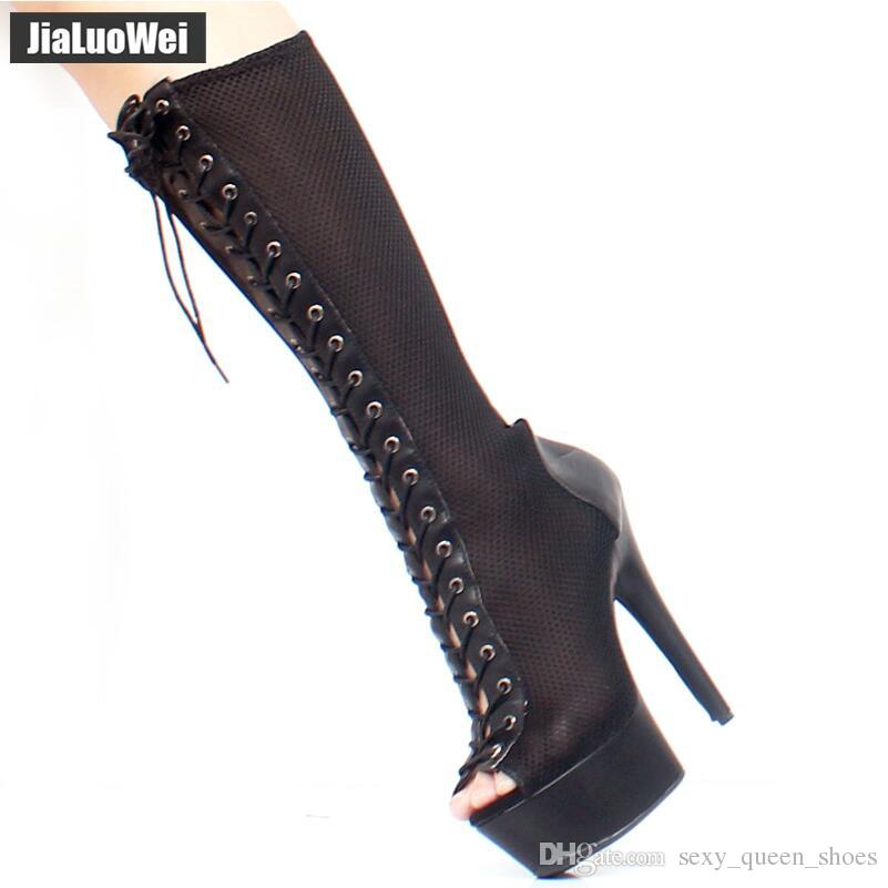 Women Sexy Sandal Boots Grid Mesh Lace-up Thin Heels Platform Peep-toe 15CM Super High Heeled Knee-High Nightclub Dancing shoes Summer heels