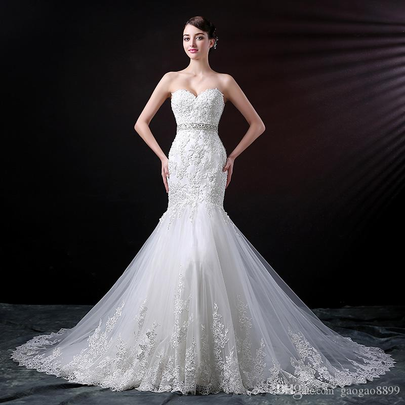 2019 Vintage lace mermaid wedding dresses with belt plus size lace up corset elegant sweetheart court train country bridal dresses gowns