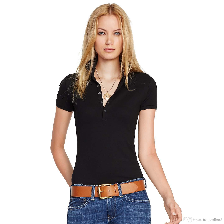 무료 배송! 14 % 뉴 브랜드 작은 말 단색 반소매 여름 여성 100 % 면도기 폴로 셔츠 S-XL 사이즈, 배송비 할인