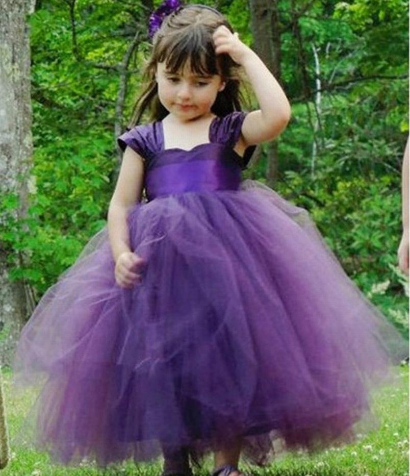 New Pincess Pageant Purple Flower Girl Dress Prom Gown Kids Dress Occasioni speciali Dress Bambini Performance Abiti GHTZ407