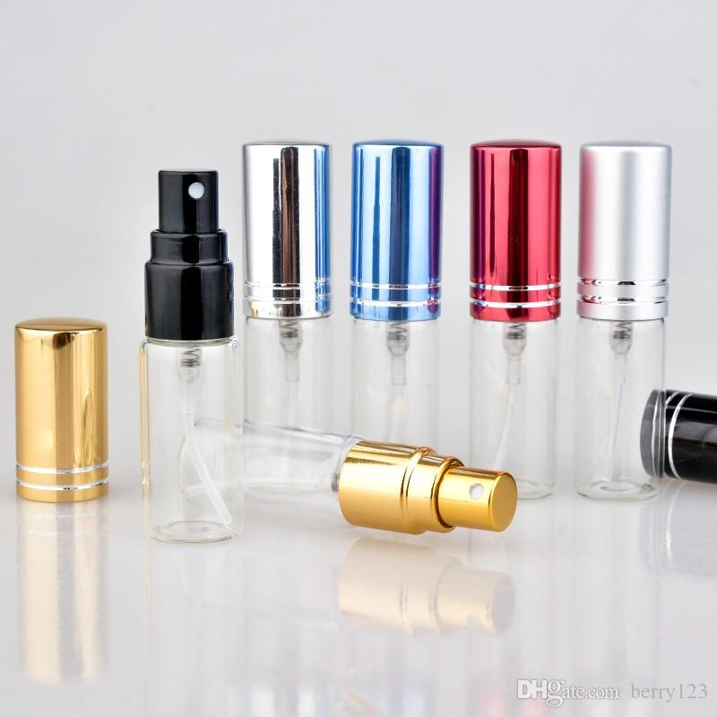 향수에 대 한 30pcs / lot 5 ml Parfum Verstuiver 여행 스프레이 병 알루미늄 펌프와 휴대용 빈 화장품 용기