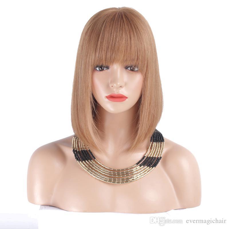 Полный шнурок человеческих волос парики для женщин #8 130% плотность перуанский Реми волосы шелковистые прямые короткие Боб кружева передние парики человеческих волос