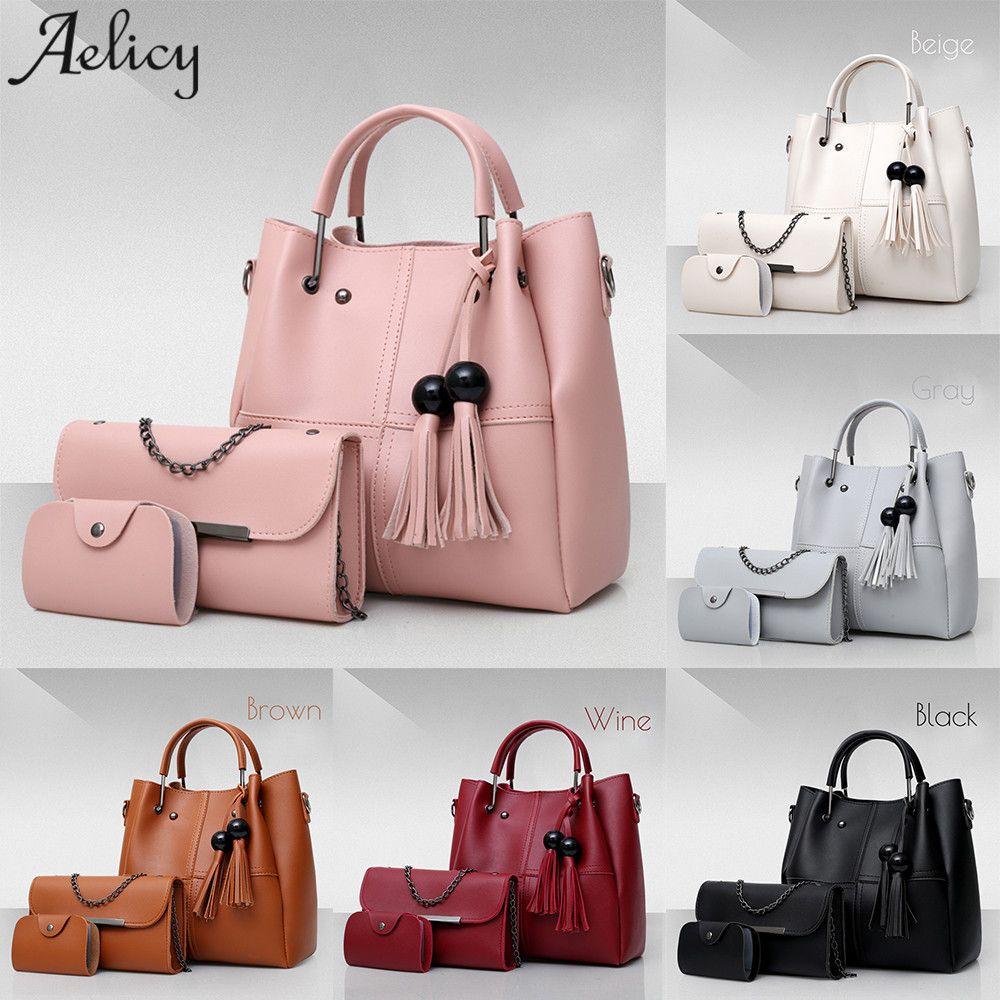 3Pcs//Sets Women Handbags pu Leather Shoulder Bags Large Casual Tote
