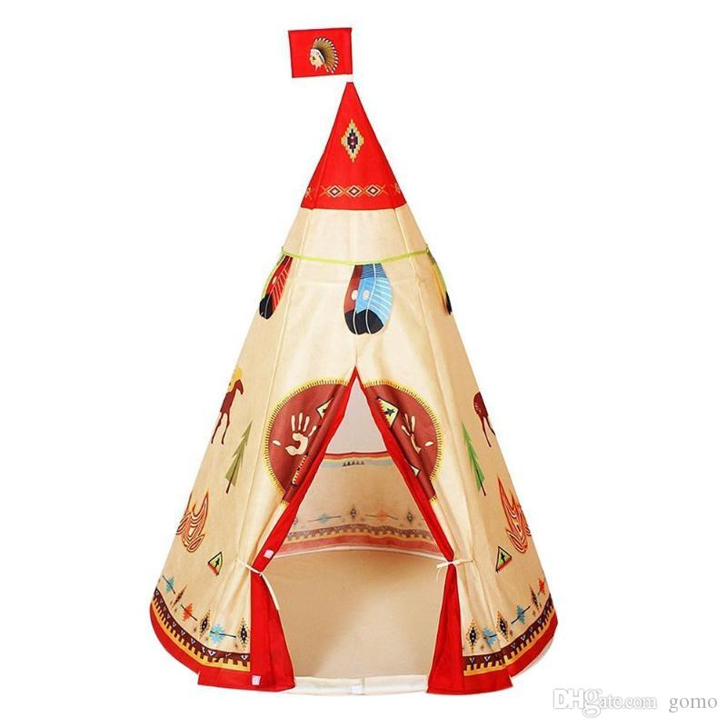 Play House Indoor Natural Indian Pattern Unisex Children Toy Tent Cloth Teepees Safety Portable Indoor Camping Game Playhouse