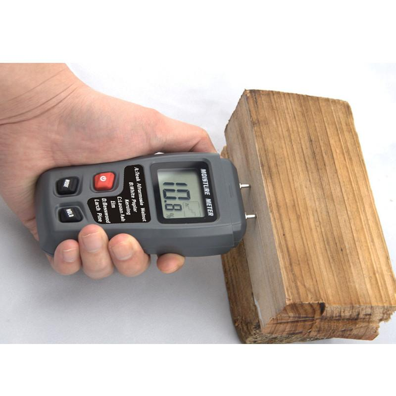 Large LCD Display Two Pins Digital Wood Moisture Meter 0-99.9% Wood Humidity Tester Timber Damp Detector 20%off