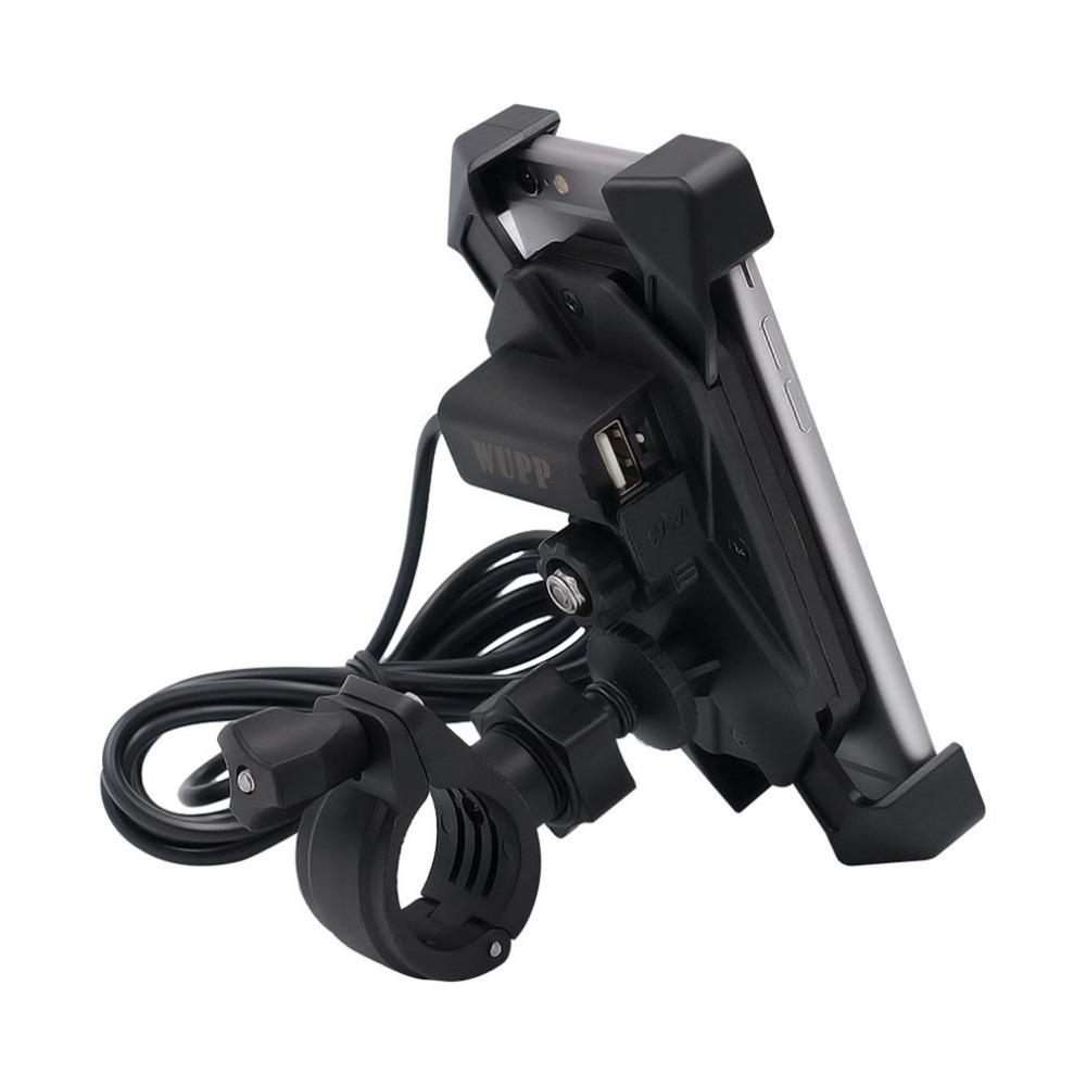 Universal 3.5-6 Inch Motorcycle Bikes Support Holder Mobile Phone Bracket Mount Holder With A USB Charging Port