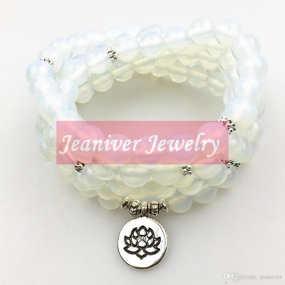 Jeaniver 2018 nouveau Design de femmes 108 Mala Bracelet opale pierre naturelle Lotus Charme Collier Yogi équilibre cadeau pour elle