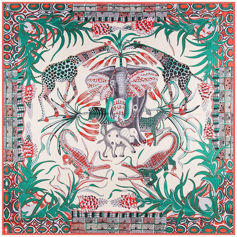 130 cm * 130 cm 2018 Neue Marke Frauen Twill Seidenschal Tier Elefant Leopard Giraffe Druck Schal Große Quadratische Schals Femal Foulard S18101904