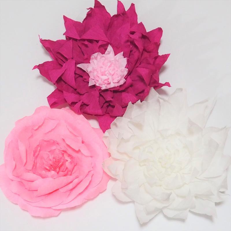 Dev Krep Kağıt Çiçekler Düğün Olay Backdrop Aritificial Çiçekler Için 3 ADET Bebek Kreş Fotoğraf Windows Ekran