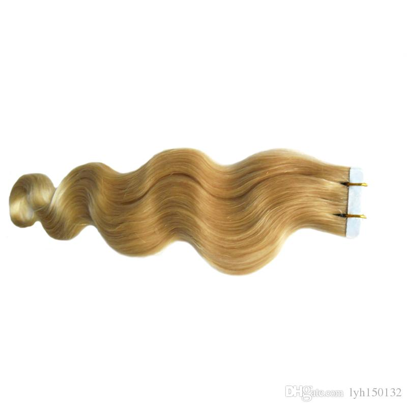 Sarışın Brezilyalı Saç Uzantıları 40 Adet 100 g / Paket Bant Yapışkan Saç Uzatma Cilt Atkı Uzantıları Vücut Dalga Bantında İnsan Saç Uzatma