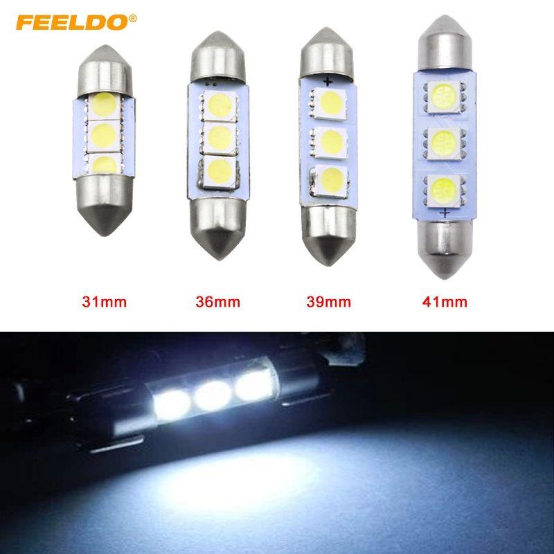 Белый автомобиль авто 31/36/39/41 мм 5050 чип 3-SMD лампы для чтения гирлянда купол светодиодные лампы #3052