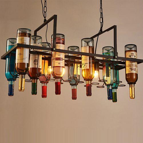La botella de vino retro llevó las lámparas de las lámparas de la lámpara colgante para el restaurante del hotel del club de bar utiliza luces colgantes del rectángulo artístico creativo incluye bombillas