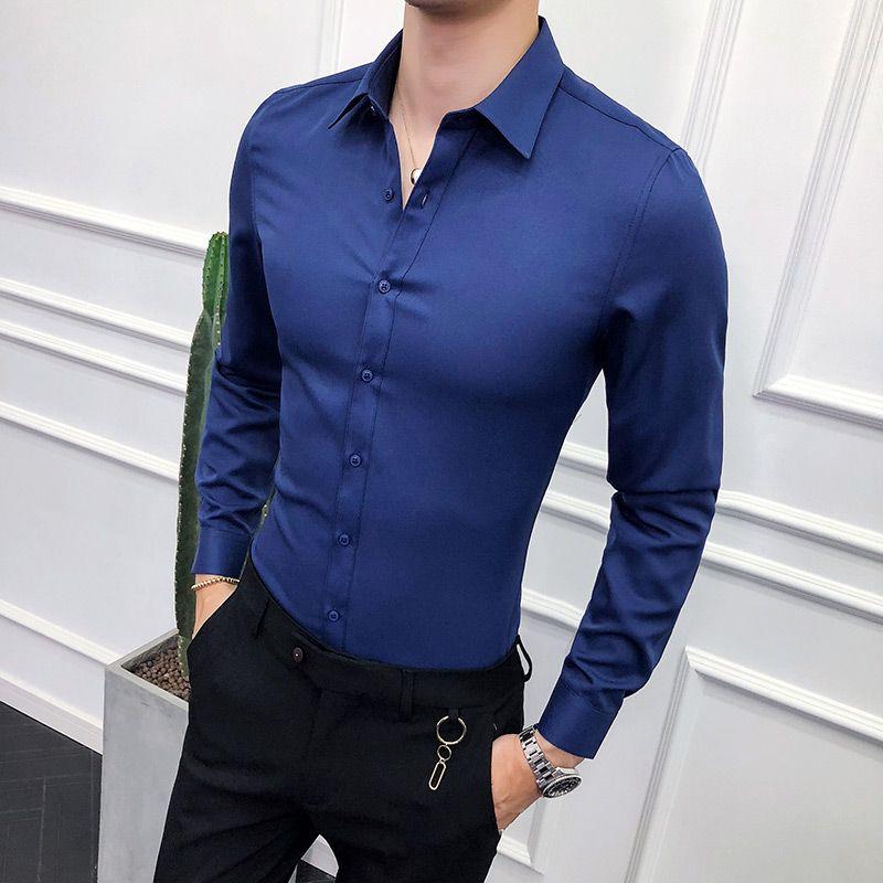 UK New Mens Casual Long Sleeve Shirts Formal Slim Fit V-neck Tops Blouse T-shirt