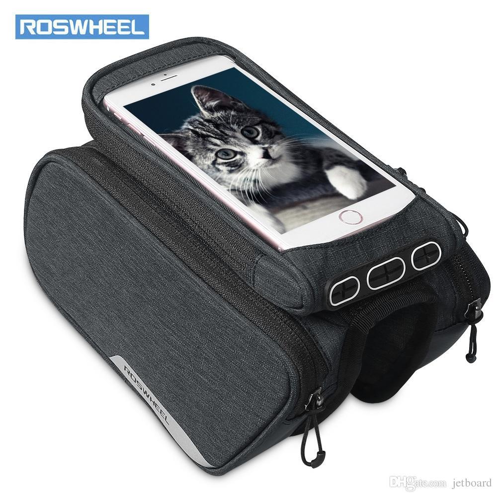 Rosheweel 121462 con la bolsa de bolsas de la célula de bicicleta de marco Top con el soporte del teléfono de ciclismo también viene pegatinas 2 Magic Tube UDRPP