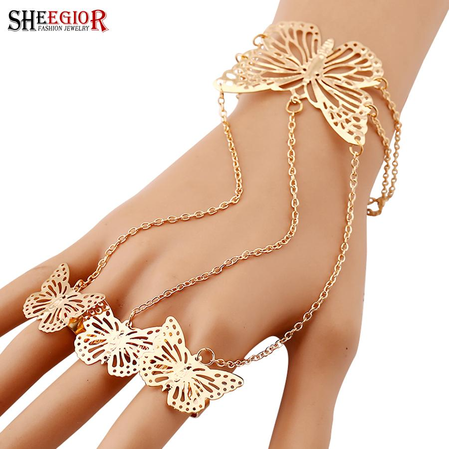 SHEEGIOR Lovely Finger Chain Bracelets Bangles for Women Fashion Jewelry Gold Silver Hollow Butterfly Charms Bracelet Femme Gift
