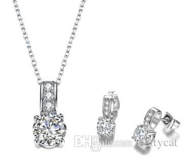 Femmes bijoux fantaisie bijoux zircon collier boucles d'oreilles ensemble mariée fiançailles mariage festival cadeau Noël anniversaire