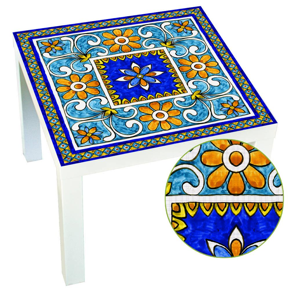 Venta al por mayor 1 UNIDS 55x55 CM italiana Mayólica Tile Lack Table Tops Wall Art extraíble autoadhesiva impermeable etiqueta de la pared