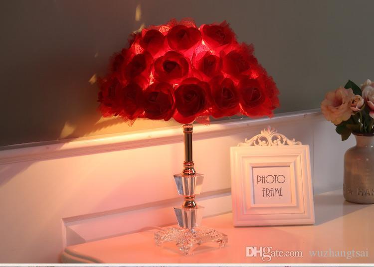 Foyer leitura sentado sala de estar princesa mesa de casamento levou candeeiro de mesa rosa flor casamento luz da mesa de cristal candeeiro de mesa