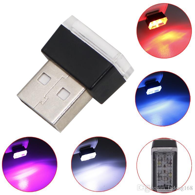 Автомобиль USB LED атмосфера огни Декоративные лампы аварийного освещения универсальный портативный ПК подключи и играй красный / синий / белый