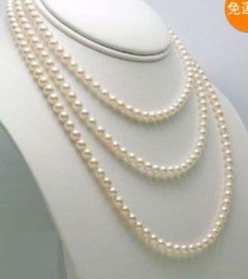 "Nuevo 7-8mm 50 ""largo collar de perlas de agua dulce blanco genuino"
