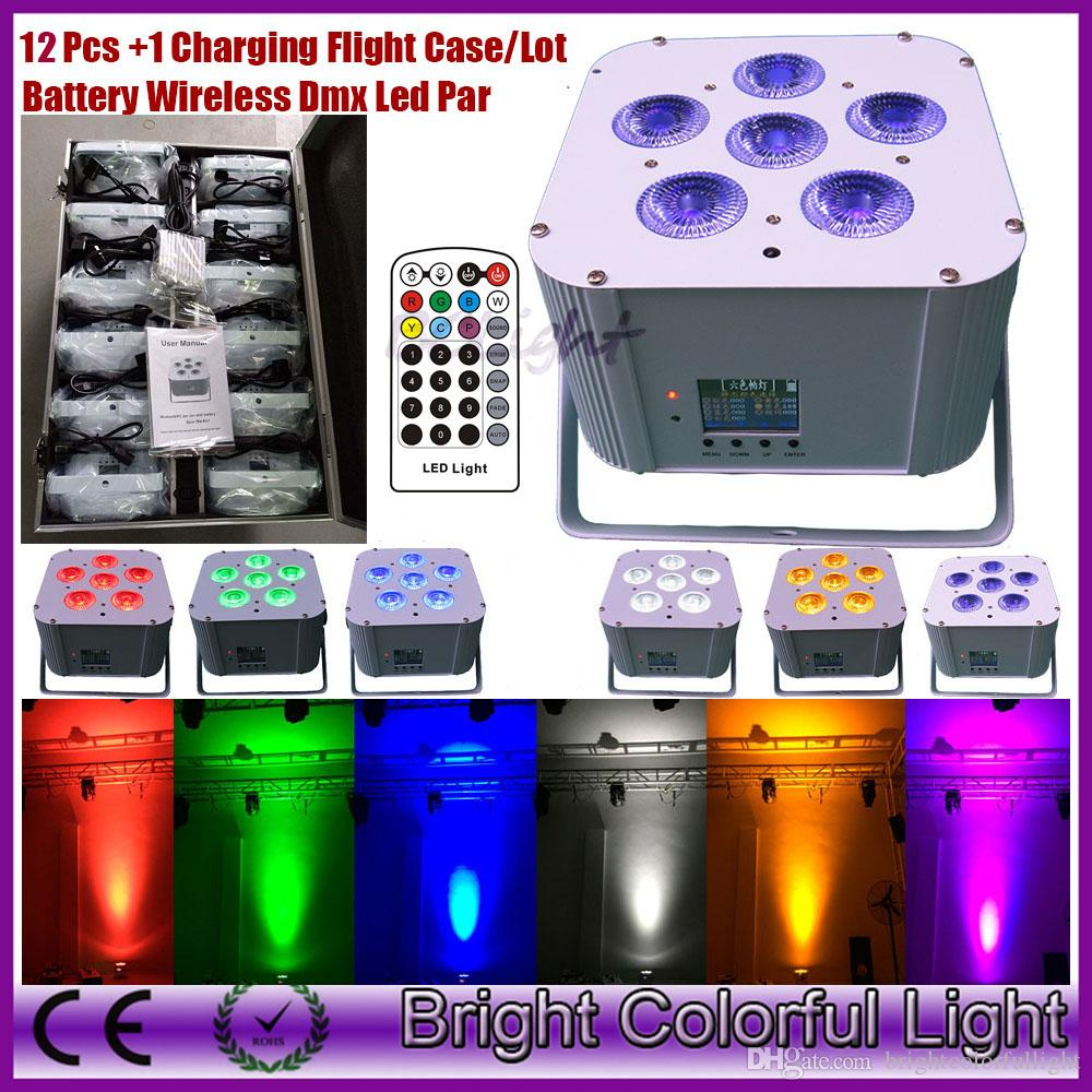12 Lights + Charging case RGBWA+UV Led battery powered & wireless dmx led par uplighting with Infrared remote controller 6*18W