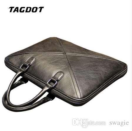 Tagdot العلامة التجارية خمر بو الجلود حقيبة كمبيوتر محمول الرجال رسول ل 14 13.3 13 بوصة حقيبة رجل الأعمال لحقيبة الكمبيوتر المحمول