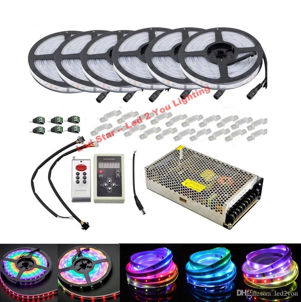 최고의 6803 IC Led 스트립 라이트 5m 10m 20m 30m 150LED IP67 방수 SMD 5050 RGB 꿈 마술 색 LED 스트립 + 컨트롤러 + 전원 공급 장치
