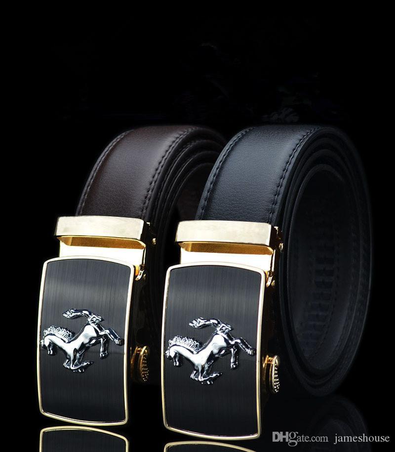 Cowskin brand men belt luxury 2018 designer strap Genuine leather galloping horse alloy automatic buckle belt