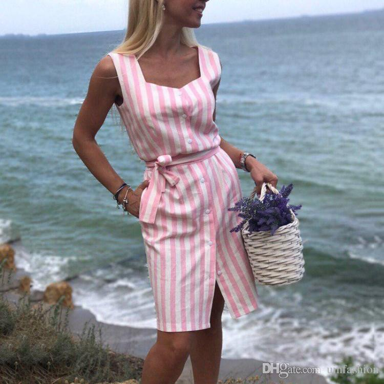 Fashion Women Shirt Dress Striped Print Navy Blue Pink Ruffled Summer Casual Sleeveless Button Sashes Beach Party Dress Vestidos