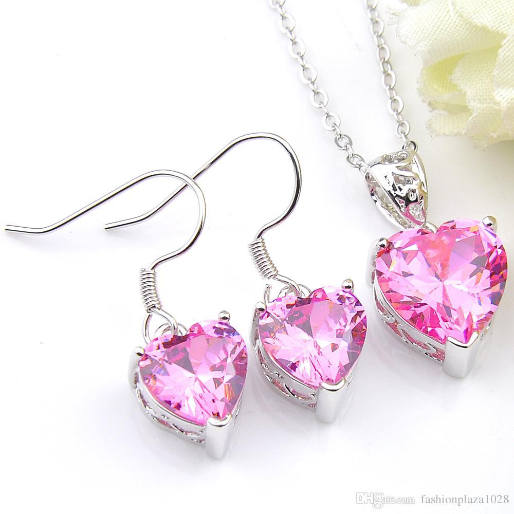 Luckyshine 925 I monili d'argento per le donne Cuore rosa Kunzite gemme orecchini delle collane del pendente insiemi da sposa con catena