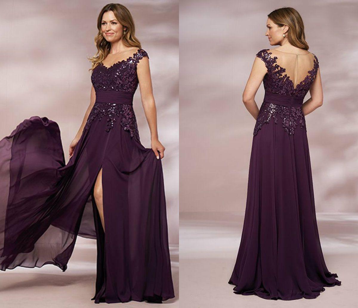 Roxo Mãe Dos Vestidos De Noiva Com Cinto V Neck Lace Lantejoulas Apliques Elegantes Do Convidado Do Casamento Do Vestido Side Dividir Chiffon Plus Size vestidos