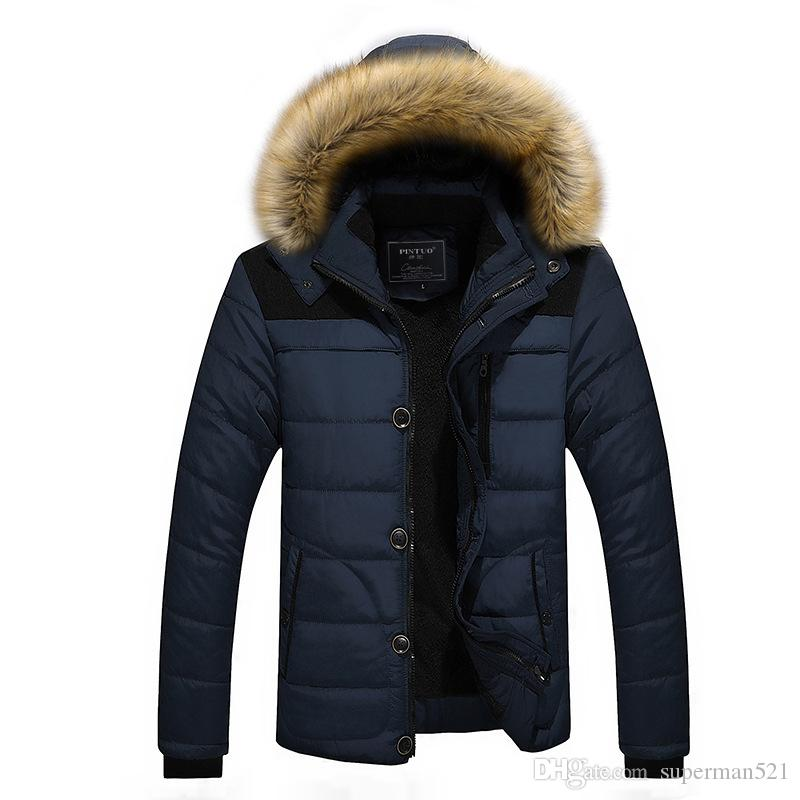 Fashion Men Winter Jackets Coats Warm Down Jacket Outdoor Hooded Fur Mens Thick Faux Fur Inner Parkas Plus Size Famous Brand