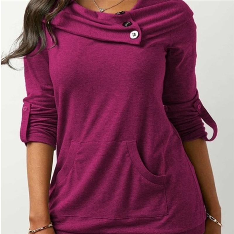 Women Fashion Autumn Long Sleeve Sweatshirts Button Cowl Neck Front Pockets Pullovers Casual Jumper Loose Tops