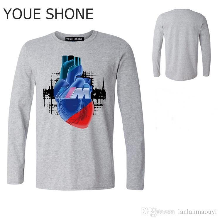 Uomini 100% COTONE CASUAL Auto Tshirt M Power Logo Auto Auto Blut Manner T-Shirt stampata Hip-Hop manica lunga Tee Top Raffreddato